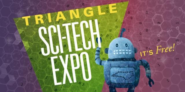 Triangle SciTech Expo logo with Kelvin the robot.