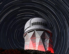 Observatory with star trails